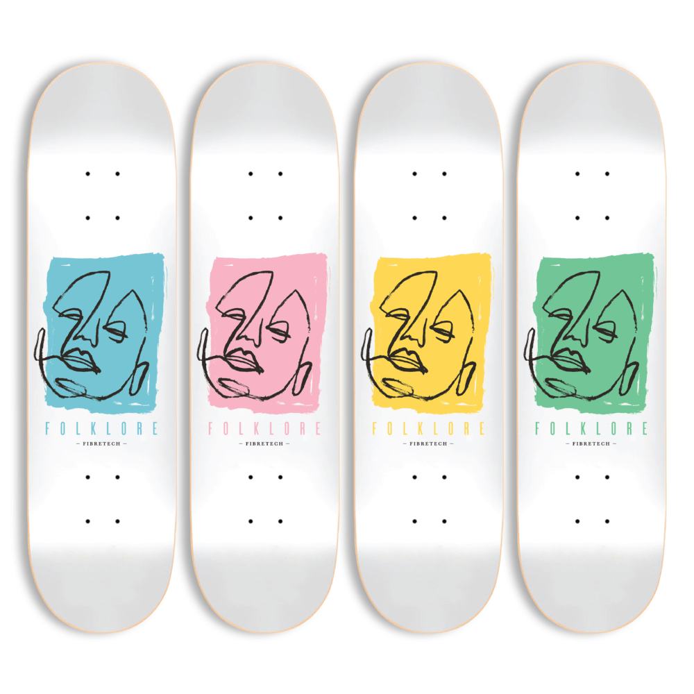 group folklore abstract skate deck